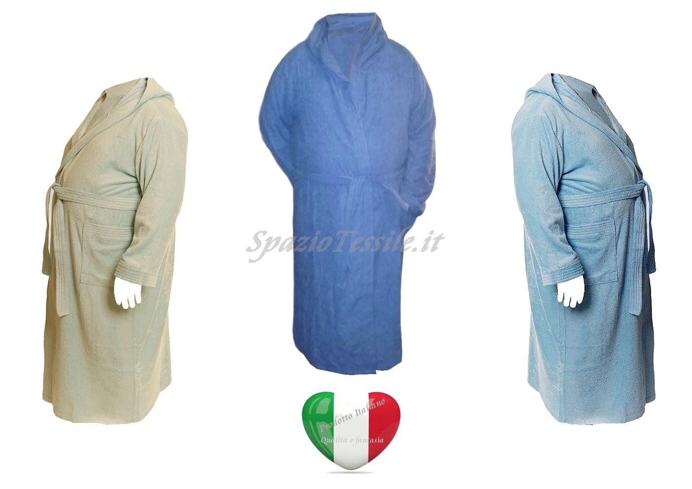 Accappatoio Vestaglia Con Cappuccio Spugna 100%Cotone Taglie Forti Calibrato
