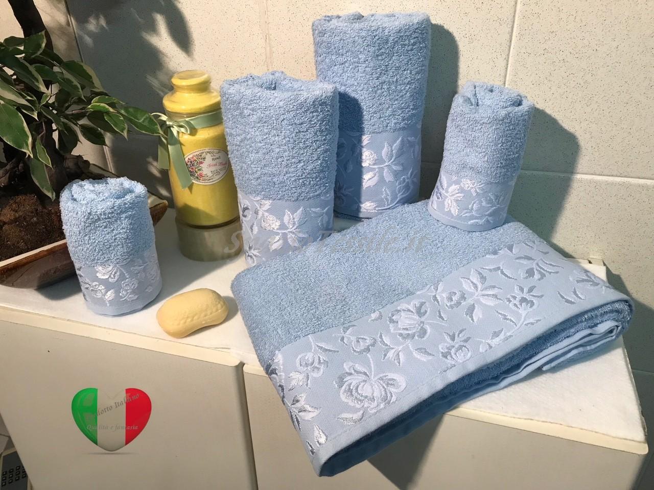 Set Spugne Bagno Roseto Azzurro