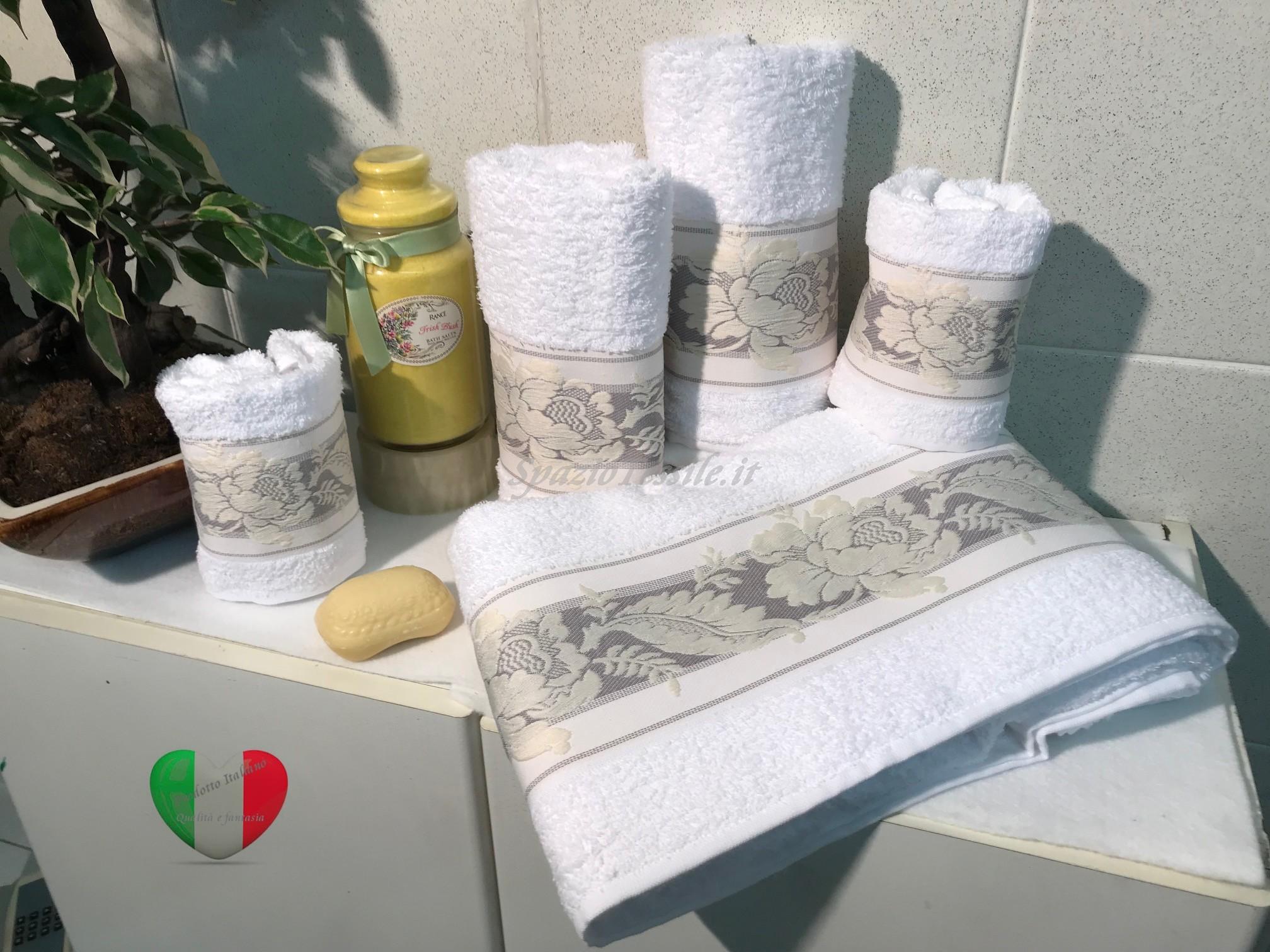 Set Spugne Bagno Petali Bianco