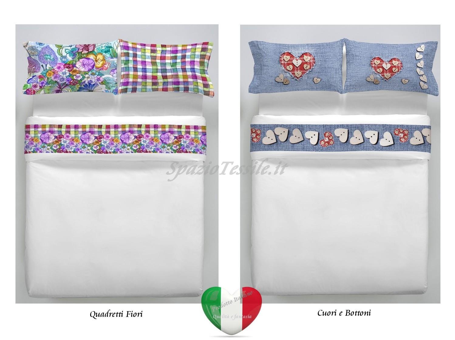 completo lenzuola stampe digitali quadretti e fiori cuori bottoni