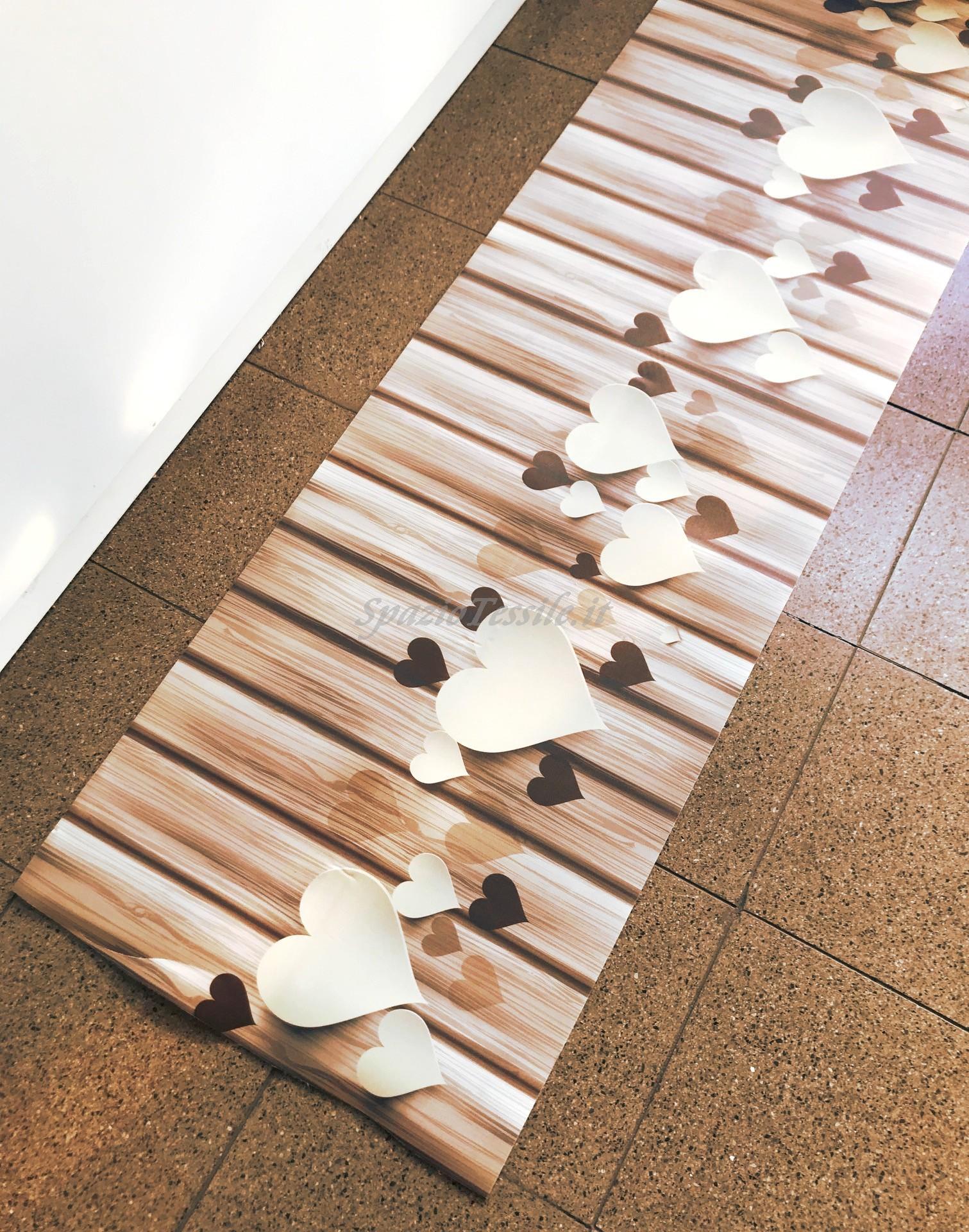 Tappeto cucina moderno TESSITURA 3D cuori antiscivolo corsia bagno mod.AFRODITE
