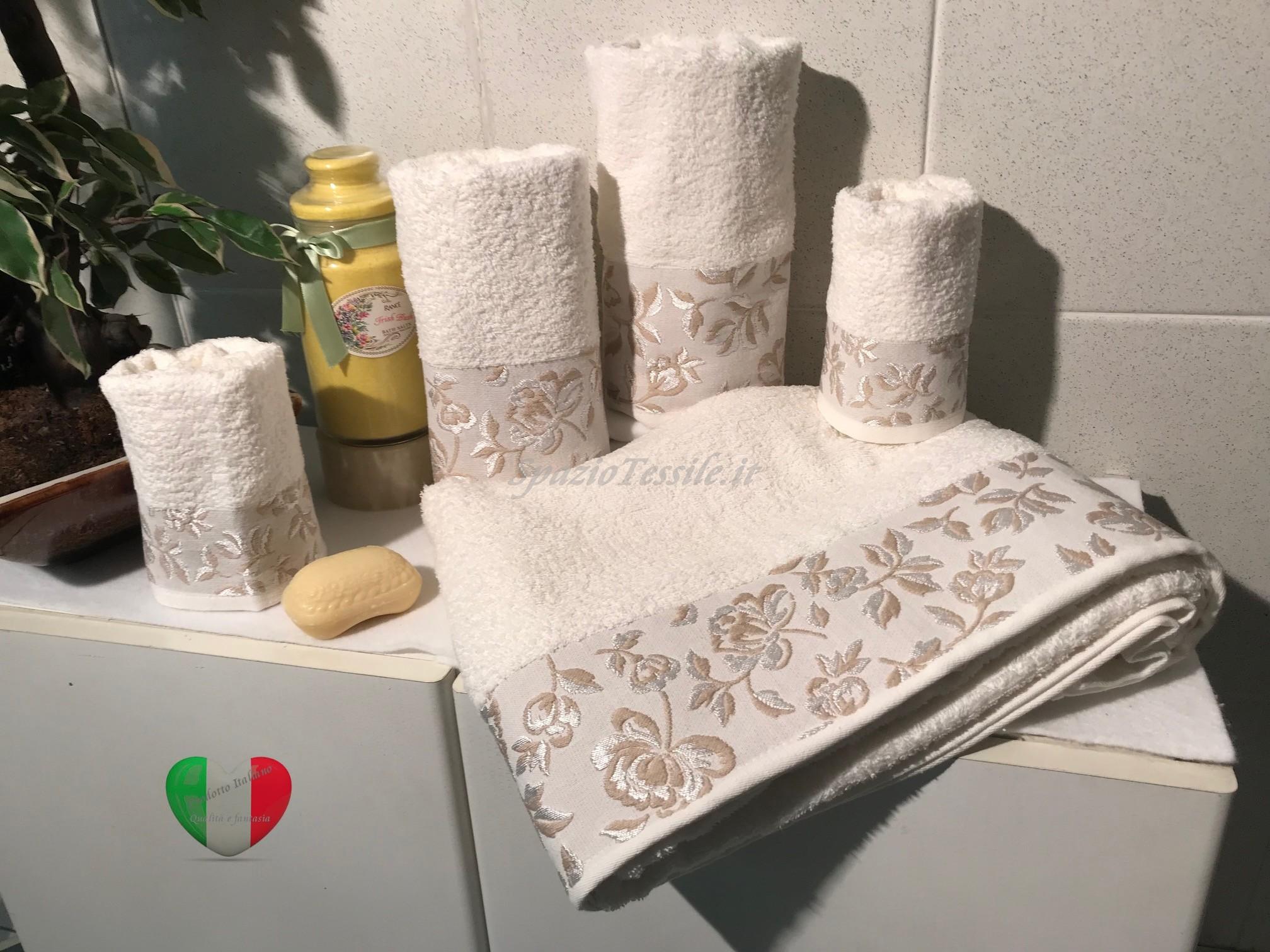 Set Spugne Bagno Roseto Panna