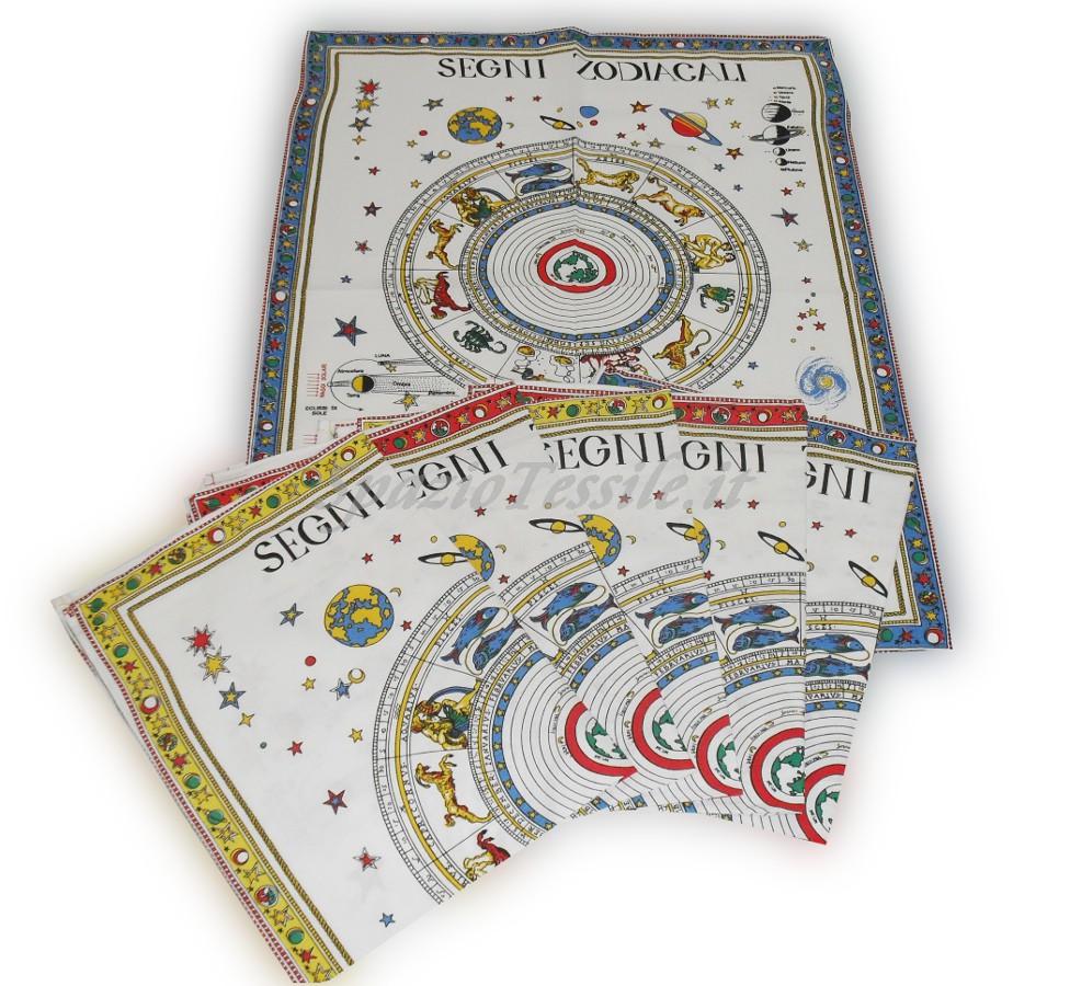 Set 6 Strofinacci Cotone 60 x 80 Disegno Zodiaco
