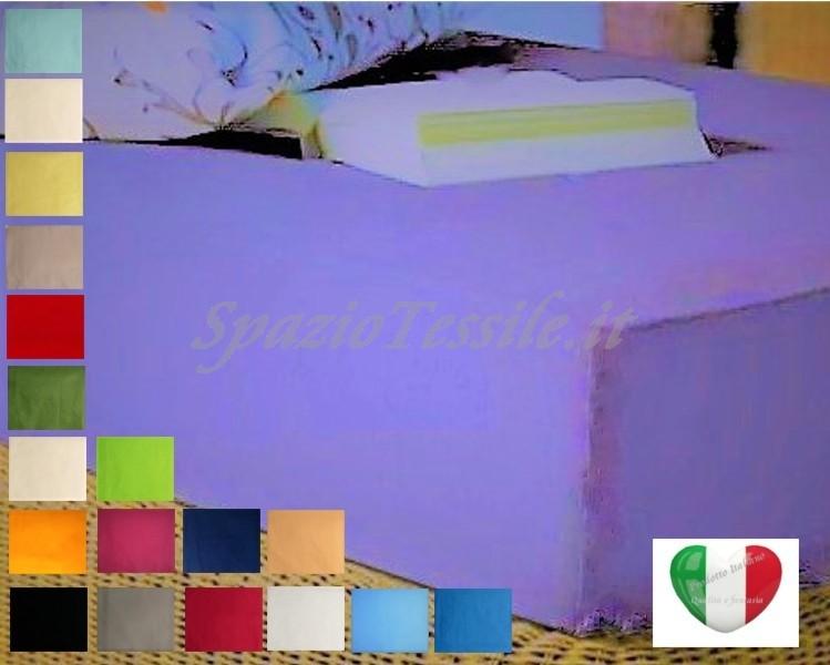 Lenzuolo Sotto Con Angoli 120x200+ H 252 cm Piazza e Mezza o  Federe 100% Cotone