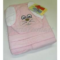 Accappatoio bimbo animaletti coniglio rosa