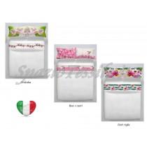 completo lenzuola stampe digitali orchidea rose e cuori fiori e righe